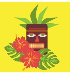 Poster with tropical palm leaves and flowers vector image
