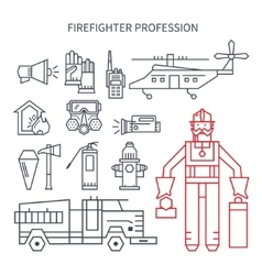 Profession fireman line set of icons vector image