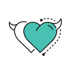 two line icon style heart devil blue vector image