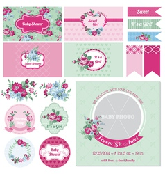 Baby Shower Flower Theme vector image