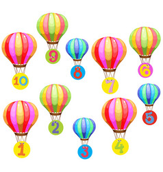 counting numbers on colorful balloons vector image vector image