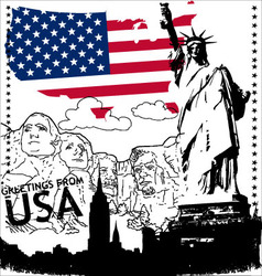 greetings from usa vector image