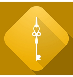 icon of Key with a long shadow vector image vector image