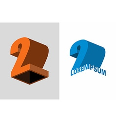 Logo number two 3D figures design template vector image