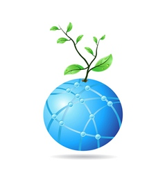 plant growing from glass globe vector image