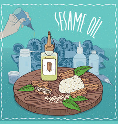 Sesame oil used as grease lubricant vector