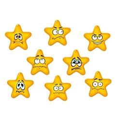 Yellow stars with negative emotions vector image vector image