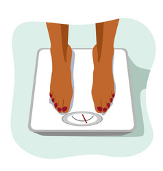 african american woman standing on weight scale vector image