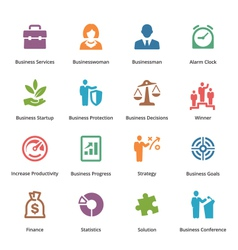 Business Icons Set 1 - Colored Series vector image vector image
