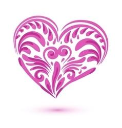 Pink brushstroke heart isolated on white vector image