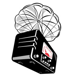 Vintage radio parachute vector