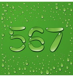 Water drop letters on green background 11 vector image