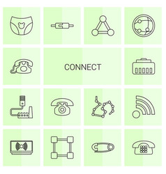 14 connect icons vector image