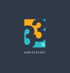 33 th anniversary celebration logo template design vector