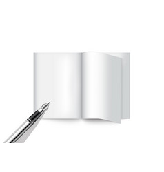 3d mock up realistic pen and book for magazine vector image