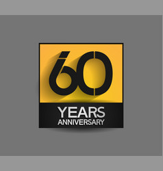 60 years anniversary in square yellow and black vector