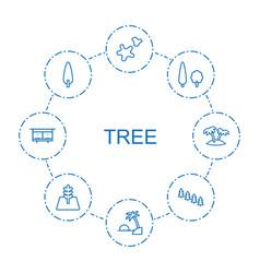 8 tree icons vector
