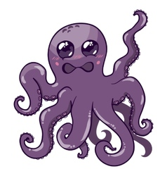 a purple octopus vector image