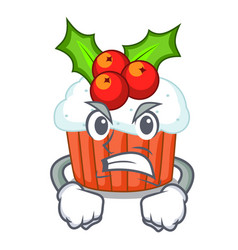 angry decorated christmas cupcakes cartoon for vector image