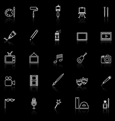 Art line icons with reflect on black vector