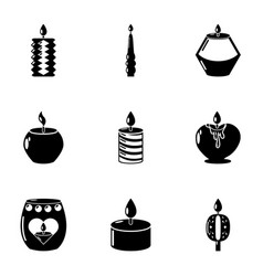 Artificial lighting icons set simple style vector