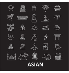 asia and asian editable line icons set on vector image