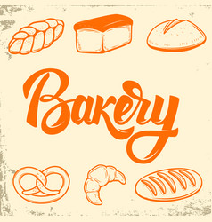 bakery set bread icons design elements vector image