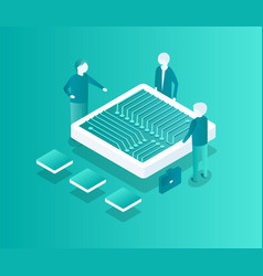 blockchain meeting people vector image