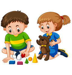 Boy and girl play toys vector
