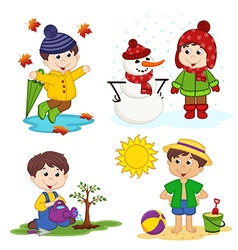Boy and the four seasons vector