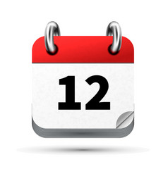 Bright realistic icon of calendar with 12 date vector