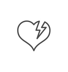 Broken heart line outline icon and romance element vector