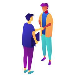 businessmen shaking hands isometric 3d vector image