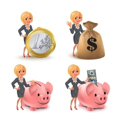 Cartoon blond business woman money vector image