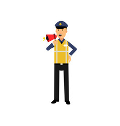 cartoon traffic police officer standing and vector image