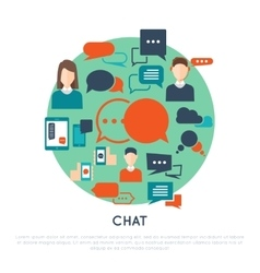 Chat Decorative Flat Icons Set vector image