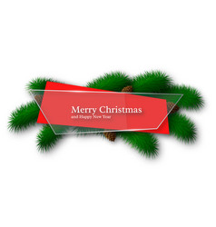 christmas glass and red abstract banner with pine vector image