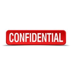 Confidential red three-dimensional square button vector