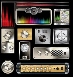 Control panel with volume knob and equalizers vector