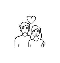 Couple in love hand drawn sketch icon vector