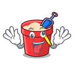 Crazy sand bucket mascot cartoon vector