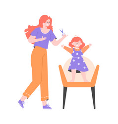 Cute mother makes a haircut to her little daughter vector