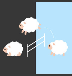 Cute sheep jumping over a fence between day and vector