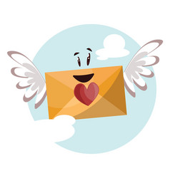 Dark yellow envelope with a red heart and wings vector