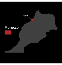 Detailed map morocco and capital city rabat vector