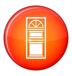 Door with an arched glass icon flat style vector image