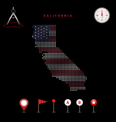Dotted map california painted in american vector