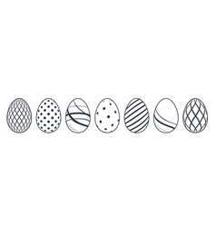 Easter egg icons black eggs set isolated white vector