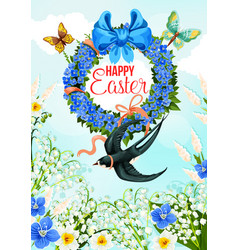 Easter greeting card with spring flower wreath vector