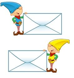 Elf Mascot Holding Big Letter vector